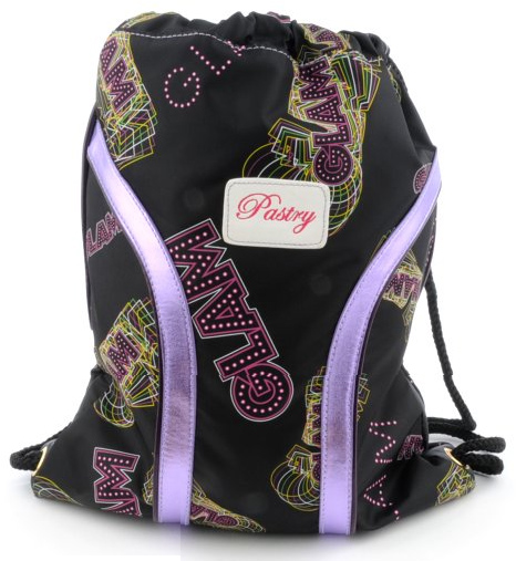 Pastry Glam Cinch Sack in Black-Purple