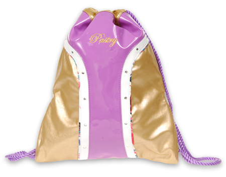 Pastry The Glam Patent Cinch Sack in Gold/Lavender Handbag