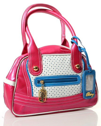 The Glam Diamond Satchel in Blue Pink