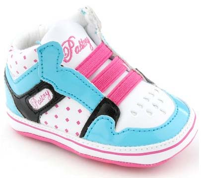 Toddler size: Pink and blue Glam Pie Crib Shoes
