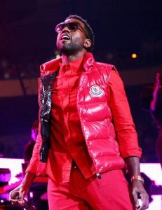Kanye West wearing Moncler vest