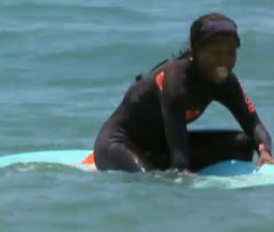 Jessica on surf board
